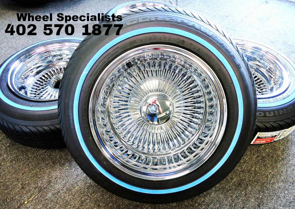 13x7 Deep Dish 100 Spoke Wire Wheels With 155 80 13 Whitewall Tires Lowrider Style Package Set 4 Wheel Specialistswheel Specialists